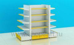 Стеллаж для детского магазина четырехсторонний торговое оборудование ЦВЕТНЫЕ МЕТАЛЛИЧЕСКИЕ СТЕЛЛАЖИ