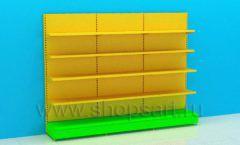 Линия пристенных стеллажей для детского магазина торговое оборудование ЦВЕТНЫЕ МЕТАЛЛИЧЕСКИЕ СТЕЛЛАЖИ