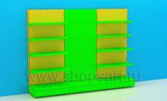 Линия перфорированных стеллажей для детского магазина торговое оборудование ЦВЕТНЫЕ МЕТАЛЛИЧЕСКИЕ СТЕЛЛАЖИ