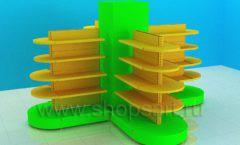 Овальные стеллажи для детского магазина торговое оборудование ЦВЕТНЫЕ МЕТАЛЛИЧЕСКИЕ СТЕЛЛАЖИ