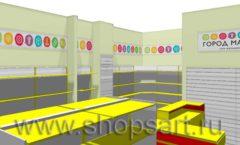 Дизайн интерьера магазина Город Мастеров коллекция ТОРГОВЫЕ СТЕЛЛАЖИ Дизайн 2