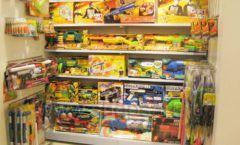 Торговое оборудование отдела игрушек магазина Винни ТЦ Юнимолл ЦВЕТНЫЕ МЕТАЛЛИЧЕСКИЕ СТЕЛЛАЖИ Фото 04