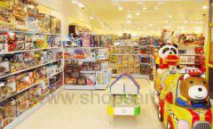 Торговое оборудование отдела игрушек детского магазина Винни ТЦ Dream House ЦВЕТНЫЕ МЕТАЛЛИЧЕСКИЕ СТЕЛЛАЖИ Фото 01