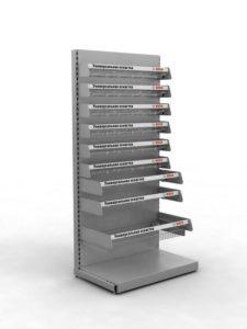 Брендированный стеллаж для продукции BOSCH торговое оборудование БРЕНДОВЫЕ СТЕЛЛАЖИ