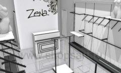 Дизайн интерьера магазина одежды Зена торговая мебель BLACK STAR Дизайн 1