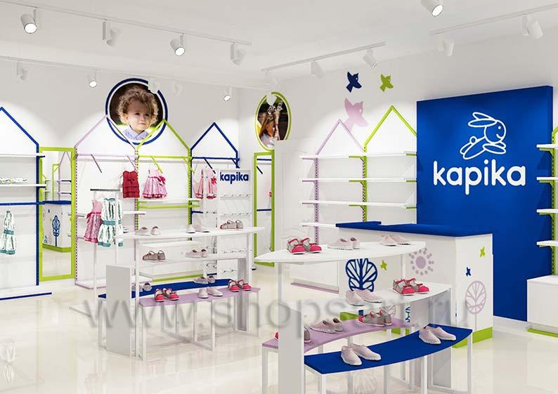 Дизайн островного отдела по продаже товаров для новорожденных