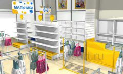 Дизайн интерьера детского магазина Жёлтый слон коллекция РАДУГА Дизайн 04