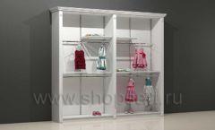 Шкаф для детского магазина торговый двухсекционный с кронштейнами полками и подиумом торговое оборудование БЕЛАЯ КЛАССИКА