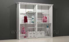 Шкаф для детского магазина торговый двухсекционный с кронштейнами полками и накопителями торговое оборудование БЕЛАЯ КЛАССИКА