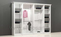 Шкаф для детского магазина торговый четырехсекционный с кронштейнами полками и подиумами торговое оборудование БЕЛАЯ КЛАССИКА