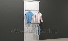 Стеллаж для магазина одежды торговый пристенный с фронтальным П-образным кронштейнами и навеской торговое оборудование БЕЛАЯ КЛАССИКА