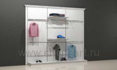 Блок торговых стеллажей для магазина одежды открытый с навеской полками и подиумами торговое оборудование БЕЛАЯ КЛАССИКА