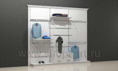 Блок торговых стеллажей для магазина одежды открытый для навески и выкладки товара с накопителем и подиумами торговое оборудование БЕЛАЯ КЛАССИКА