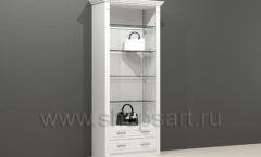 Шкаф для магазина одежды торговый пристенный со стеклянными полками и накопителем торговое оборудование БЕЛАЯ КЛАССИКА