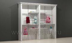 Шкаф для магазина одежды торговый двухсекционный с кронштейнами и полками торговое оборудование БЕЛАЯ КЛАССИКА