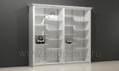 Шкаф для магазина одежды торговый двухсекционный с полками и подиумами торговое оборудование БЕЛАЯ КЛАССИКА