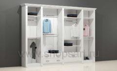 Шкаф для магазина одежды торговый четырехсекционный с кронштейнами полками и накопителями торговое оборудование БЕЛАЯ КЛАССИКА