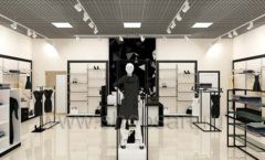 Дизайн интерьера магазина одежды торговое оборудование ЧЕРНО БЕЛАЯ КЛАССИКА Дизайн 02
