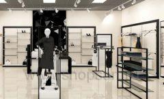 Дизайн интерьера магазина одежды торговое оборудование ЧЕРНО БЕЛАЯ КЛАССИКА Дизайн 03