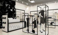 Дизайн интерьера магазина одежды торговое оборудование ЧЕРНО БЕЛАЯ КЛАССИКА Дизайн 04