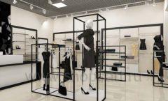 Дизайн интерьера магазина одежды торговое оборудование ЧЕРНО БЕЛАЯ КЛАССИКА Дизайн 06