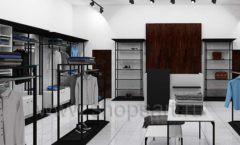 Дизайн интерьера магазина мужской одежды торговое оборудование КЛАССИЧЕСКИЙ ЛОФТ Дизайн 01