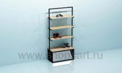 Стеллаж для магазина обуви с накопителем торговое оборудование СТИЛЬ ЛОФТ