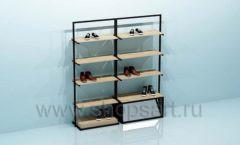 Стеллаж для магазина обуви двойной торговое оборудование СТИЛЬ ЛОФТ