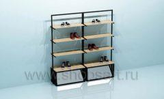 Стеллаж для магазина обуви с накопителями двойной торговое оборудование СТИЛЬ ЛОФТ