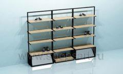 Блок стеллажей для магазина обуви с накопителями торговое оборудование СТИЛЬ ЛОФТ