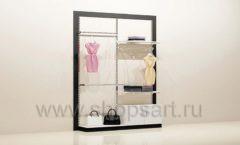 Стеллаж для магазина одежды с навеской и накопителем торговое оборудование ЧЕРНО БЕЛАЯ КЛАССИКА