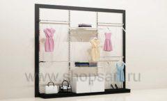Блок стеллажей для магазина одежды с навеской накопителем и подиумами торговое оборудование ЧЕРНО БЕЛАЯ КЛАССИКА