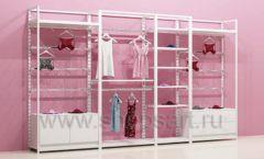 Блок стеллажей для магазинов нижнего белья с навеской и накопителями торговое оборудование ИСАБЕЛЬ