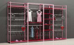 Блок стеллажей для магазинов нижнего белья с кронштейнами и полками торговое оборудование ИСАБЕЛЬ
