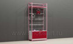Стеллаж для магазинов нижнего белья с фронтальной навеской и накопителем с дверками торговое оборудование ИСАБЕЛЬ