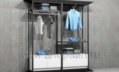 Стеллаж ЛОФТ для магазина мужской одежды с накопителями двойной торговое оборудование КЛАССИЧЕСКИЙ ЛОФТ