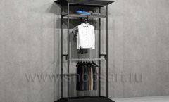 Стеллаж ЛОФТ для магазина мужской одежды с фронтальной и боковой навеской торговое оборудование КЛАССИЧЕСКИЙ ЛОФТ
