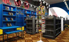 Дизайн интерьера 1 книжного магазина комиксов торговое оборудование КНИГОЛЮБ Дизайн 01