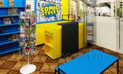 Дизайн интерьера 1 книжного магазина комиксов торговое оборудование КНИГОЛЮБ Дизайн 08