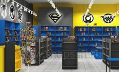 Дизайн интерьера 2 книжного магазина комиксов торговое оборудование КНИГОЛЮБ Дизайн 02