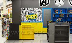 Дизайн интерьера 2 книжного магазина комиксов торговое оборудование КНИГОЛЮБ Дизайн 05