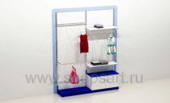 Стеллаж для детского магазина с навеской и накопителем торговое оборудование ГОЛУБАЯ ЛАГУНА