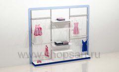 Блок стеллажей для детского магазина с навеской накопителем и подиумами торговое оборудование ГОЛУБАЯ ЛАГУНА