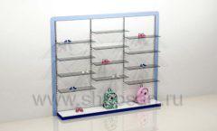 Блок стеллажей для детского магазина с полками и подиумами торговое оборудование ГОЛУБАЯ ЛАГУНА