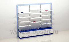 Блок стеллажей для детского магазина с полками и накопителями торговое оборудование ГОЛУБАЯ ЛАГУНА