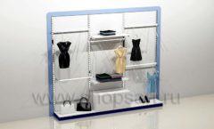 Блок стеллажей для магазина одежды с навеской накопителем и подиумами торговое оборудование ГОЛУБАЯ ЛАГУНА