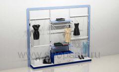 Блок стеллажей для магазина одежды с кронштейнами полками накопителем и подиумами торговое оборудование ГОЛУБАЯ ЛАГУНА