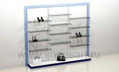 Блок стеллажей для магазина одежды с полками и подиумами торговое оборудование ГОЛУБАЯ ЛАГУНА