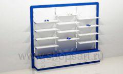 Блок стеллажей для магазина одежды с полками и накопителями торговое оборудование ГОЛУБАЯ ЛАГУНА
