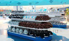 Торговое оборудование 3 детского сувенирного магазина Москвариум ВДНХ ЦВЕТНЫЕ МЕТАЛЛИЧЕСКИЕ СТЕЛЛАЖИ Фото 01